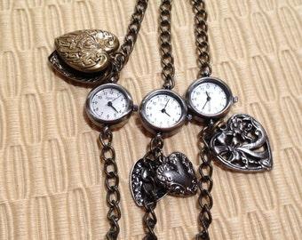 New Dark Pewter Charm Bracelet Watch