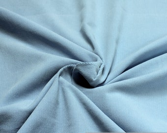 Fabric pure cotton corduroy light blue 1 mm