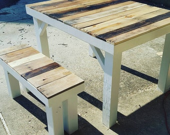 Rustic reclaimed wood kitchen table.