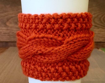 Persimmon Coffee Sweater - Knit Cabled Coffee Cozy - Orange Coffee Cozy– Cable Coffee Cozy – Knit Coffee Cozy