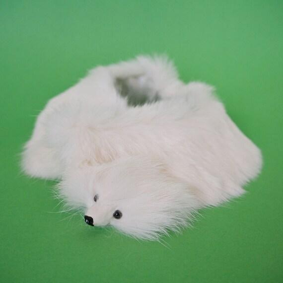 Mid Century Petite White Rabbit Fur Collar