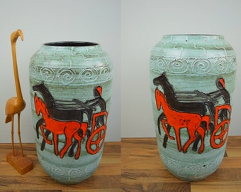 Rare vintage XL floor vase / Scheurich / 546 50 / handmade design   70s   West German Pottery
