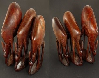 SALE XXL Vintage set of 3 deers, wooden figurine, sculptur, figurine, mid century modern design, 60s