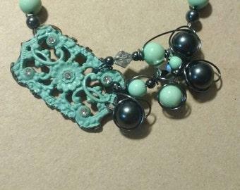 Teal vintage metal necklace