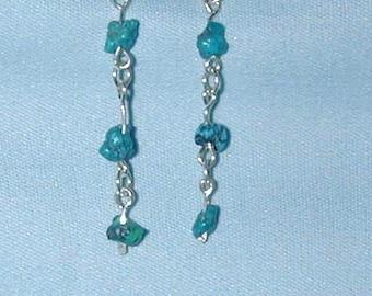 turquoise earrings, silver & turquoise earrings, handcrafted earrings, silver, turquoise, earrings, metal work, OOAK earrings,