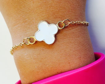 FREE SHIPPING USA, Quatrefoil, Clover, Bracelet, Gold, Gold Tone, Gift, Jewelry, Costume Jewelry