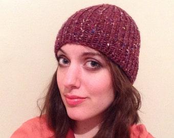 Ribbed burgundy beanie, tweed merino, alpaca, wool knit hat, women's handmade warm beanie