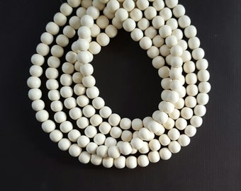 Bulk Orders, 10mm White Beads, Round Wood Beads, Lightweight Beads, Fast Shipping from USA