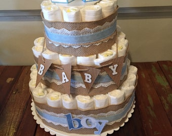 Baby Boy Burlap & Lace Diaper Cake