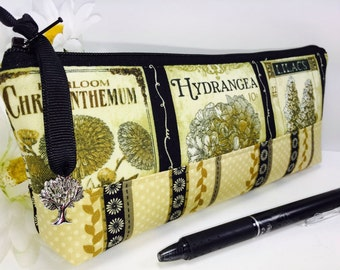 Pencil Case, Garden Pencil Pouch, Zipper Pouch, Back to School, Cosmetic Bag, Makeup Pouch, Cute Zipper Pouch