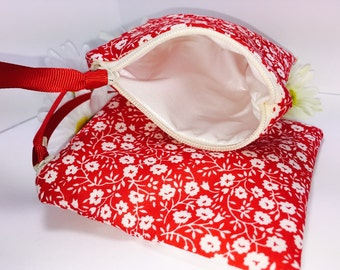 Personal Size WET BAG, Bright Red, for Reusable Feminine Products, Waterproof Pouch, PUL Lining Quick Dry Design