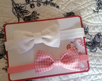 Pink gingham and white pique headband or clips