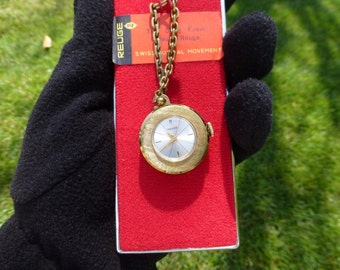 Vintage Swiss Reuge Miniature Music Box Pendant Necklace Watch Mechanical Wind Up 15 Jewels Watch Movements ( WATCH THE VIDEO )