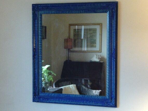 Large mirror vinegar painted in blue