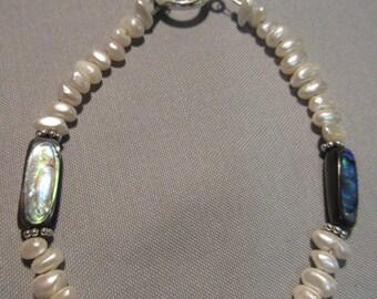 Genuine Abalone and Freshwater Pearl Beaded Bracelet