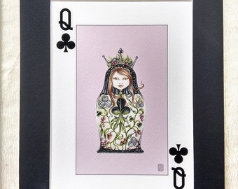 """Queen of Clubs Illustration, Playing Card Art, Nesting Doll Art, Illustration,Queen Art Print,Queen of Clubs Art Print,Matted for 9""""x12"""""""
