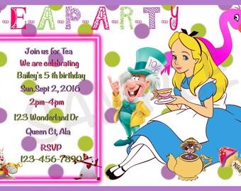Alice In Wonderland Custom Invitations