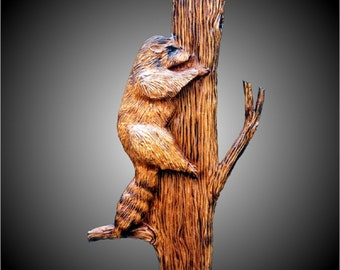 Climbing Raccoon Wall Sculpture