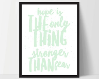 Printable, Hope is Stronger Than Fear, Art Print, Quote, Inspirational Print Decor, Digital Art Print, Office Print, 12x16, Mint