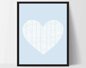 Wall Art, Geometric Heart, Unframed, Artwork, Home Decor, Modern Contemporary, Print Art, Boho, Nursery, Baby, Blue, 12x16 Inches