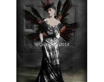 Fairy Gothic Printable Victorian Lady Stemapunk Woman Digital Collage Ephemera Art Instant Download Vintage  Image Scrapbooking Cards Photo