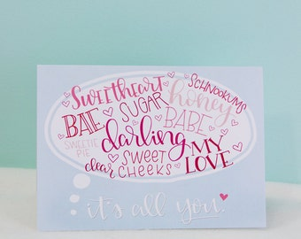 Romantic Terms of Endearment - Greeting Card
