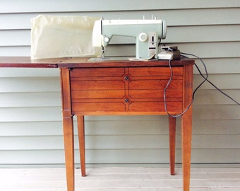 Attractive Vintage Mid Century Modern Kenmore Sears Table Sewing Machine Wooden  Cabinet Wood Green Sew Machine