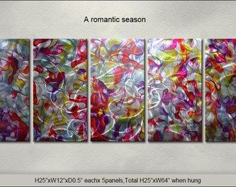 "Original Special Metal Wall Art Modern Abstract Indoor Outdoor Decor Direct From Artist ""A romantic season"""