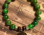 Green Jade and Garnet Tree of Life Bracelet Healing Crystals FREE SHIPPING!