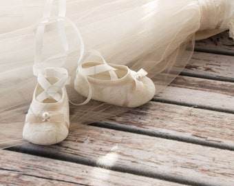baptism shoes - cotton baptism shoes - christening shoes - shoes for baptism in the style of ballet shoes- whiet or ivory