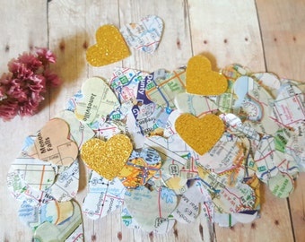Heart Confetti 400+ pc Hearts atlas Scrapbook,Map confetti,Atlas confetti,wedding heart confetti,Travel party confetti,bridal shower