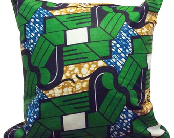 Earth, green, blue and earth coloured authentic african ankara cushion cover