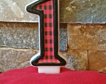 Buffalo candle, No Mess painted trim, Custom Candle, 1st Birthday, Number candles
