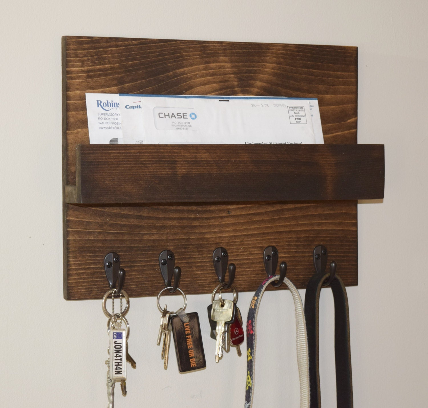 Rustic Mail And Key Rack Mail And Key Holder With Shelf