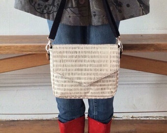 Handmade Crossbody Bag - Silkscreen printed handbag - Envelope purse - Natural  cotton canvas handprinted Hairy pattern Monochrome