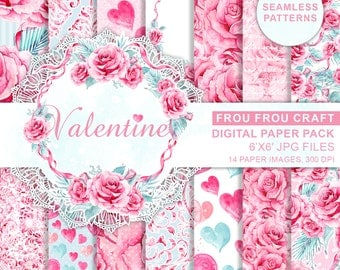 Pink Mint Roses Romantic Wedding Digital, Watercolor Valentine Love Digital, Valentine Background Paper Pack, Watercolor Hearts Digital