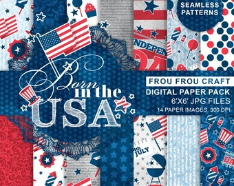 4th of July Digital Paper Pack, Seamless Patterns USA Independence Day, Celebration Holiday Seasonal, Red Blue Navy, Patriotic, Fourth July
