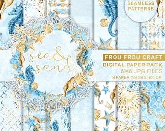 Sea Digital Paper Pack, Watercolor Nautical, Seamless Patterns, Sea Elements, Seashells, Seahorse, Coral Reef, Repeatable Pattern, DIY Pack