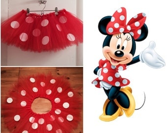 Disney's Minnie Mouse inspired costume tutu. Red with polka dots.