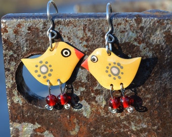 Yellow Birds, Animal Jewelry, Unique Earrings, Enamel Earrings, Unique Jewelry, Hipster Earrings, Hipster Jewelry, Quirky Jewelry