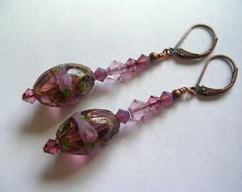 Purple Amethyst Copper Earrings Crystal Earrings Dangle Wedding Cake Copper Foiled Lampwork Leverback Hooks Swarovski Crystals