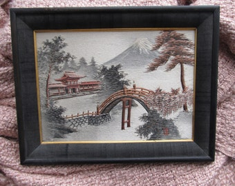 Gorgeous Asian silk embroidery landscape/ signed and framed