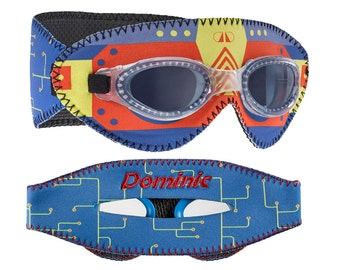 Personalized Giggly Goggles Robot swim goggles, the most fun and comfortable goggles! personalized with name, initials or team name