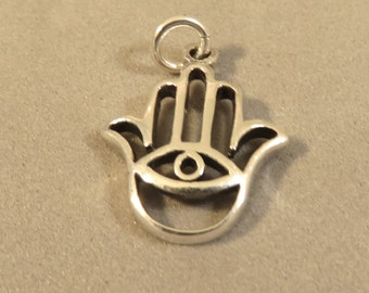 Sterling Silver HAMSA & EVIL EYE Charm Pendant Hand Faith Religion middle east protection sign symbol open .925 Sterling Silver New fa46