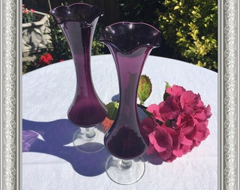 Pair of Dainty Vintage Coloured-glass Fluted Vases