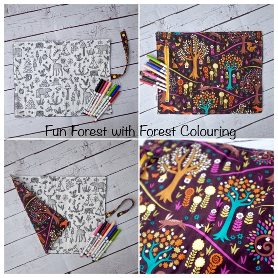 Activity Colouring Mat Children's Gift Set/Colour in fabric Forest/Cars/Giraffe/Alphabet Design/Eco-Friendly/Washable