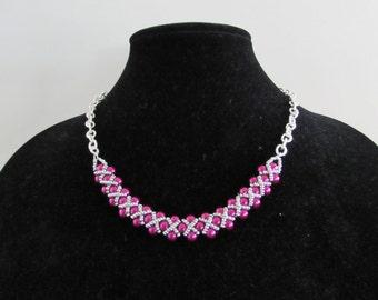 Deep Fushia Glass Pearl Necklace, Bracelet and Earrings