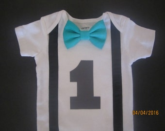 Boy first birthday outfit, Boy black suspender bodysuit, teal bow tie birthday shirt, baby gray birthday outfit, boy argyle bow tie shirt