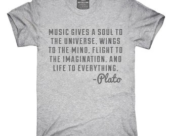 Music Gives Soul To The Universe Plato Quote T-Shirt, Hoodie, Tank Top, Gifts