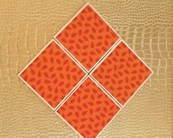 set of four handmade orange and red  fall coasters